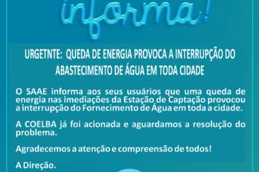 URGENTE! QUEDA DE ENERGIA PROVOCA INTERRUPÇÃO DO ABASTECIMENTO DE ÁGUA PARA TODA A CIDADE